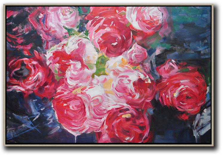 Oversized Canvas Art On Canvas,Horizontal Abstract Flower Painting Living Room Wall Art #Abh0A46,Big Painting