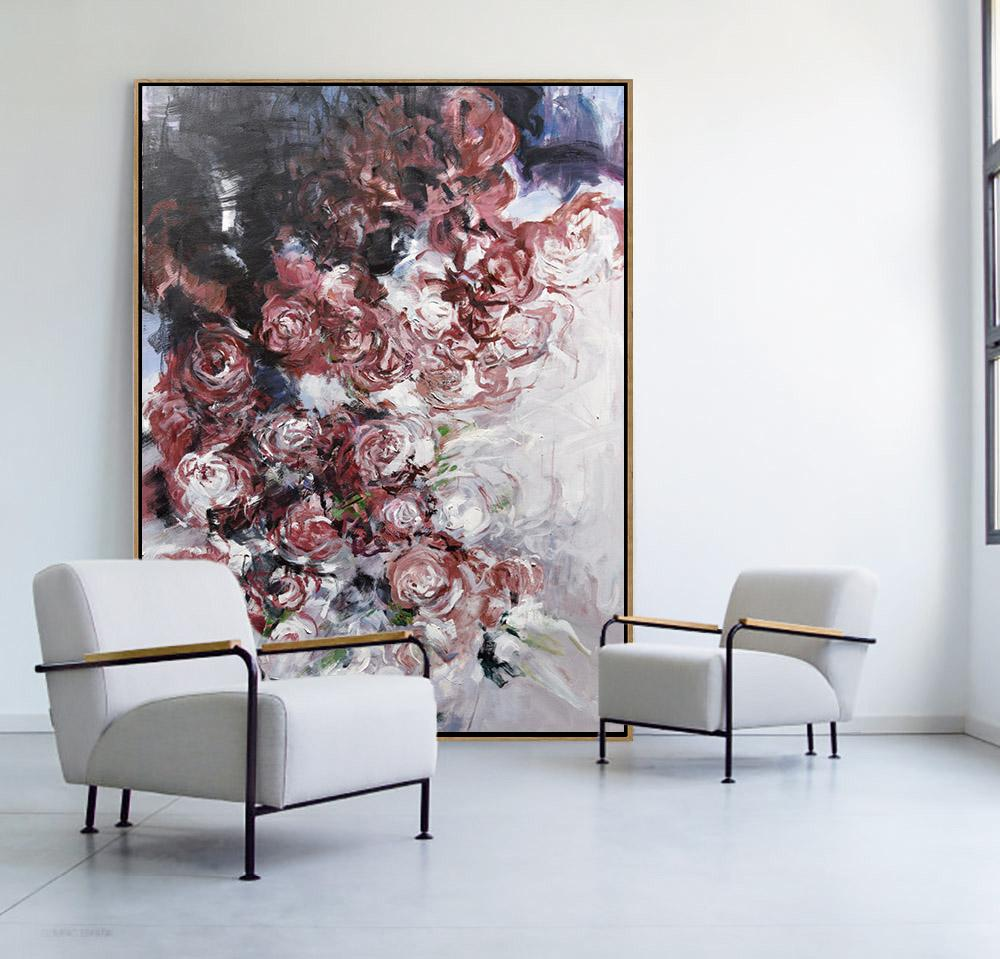 Large Abstract Painting,Oversized Abstract Flower Oil Painting,Hand Paint Large Clean Modern Art