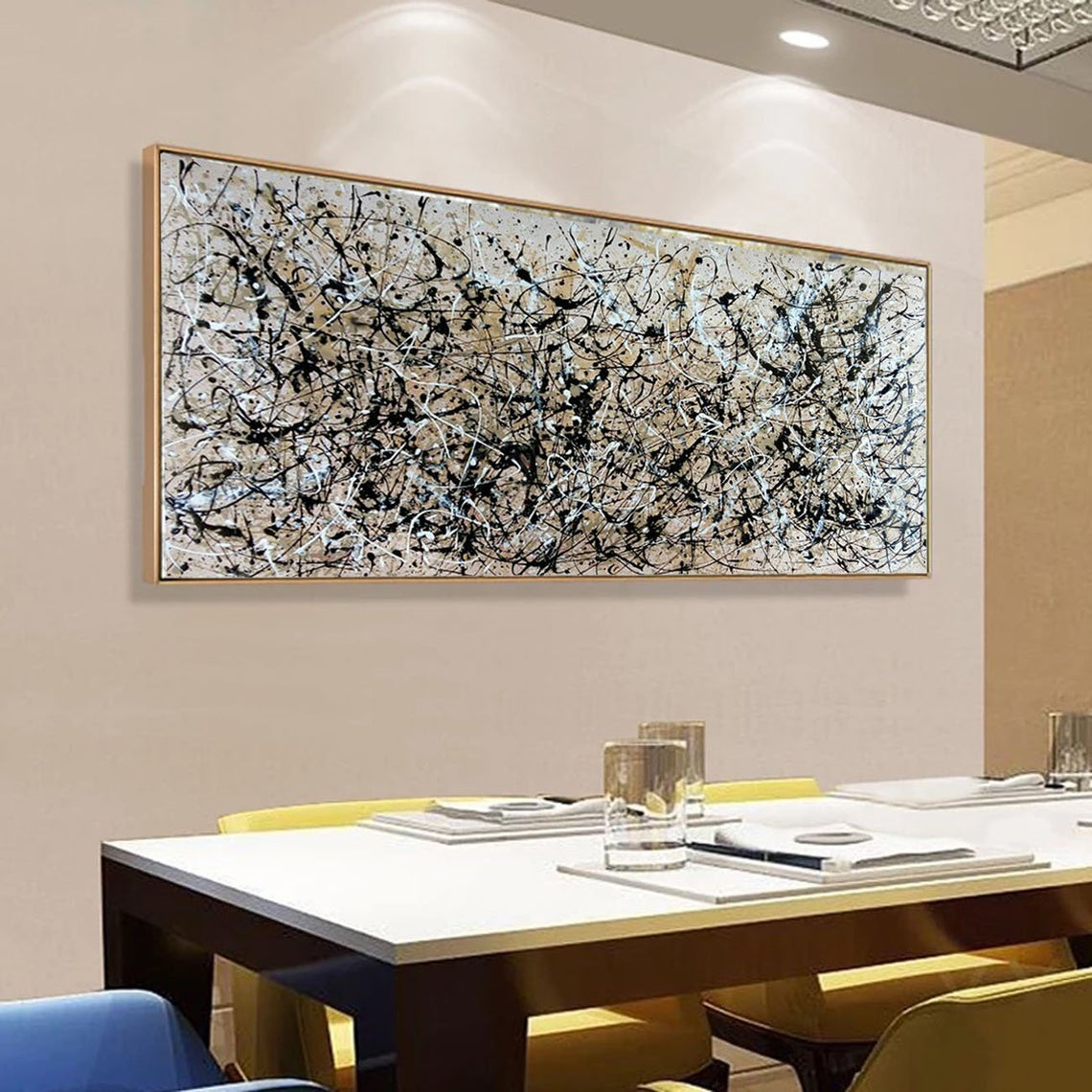 Jackson Pollock Style Art, Large Neutral Wall Art, Contemporary Wall Art - Click Image to Close