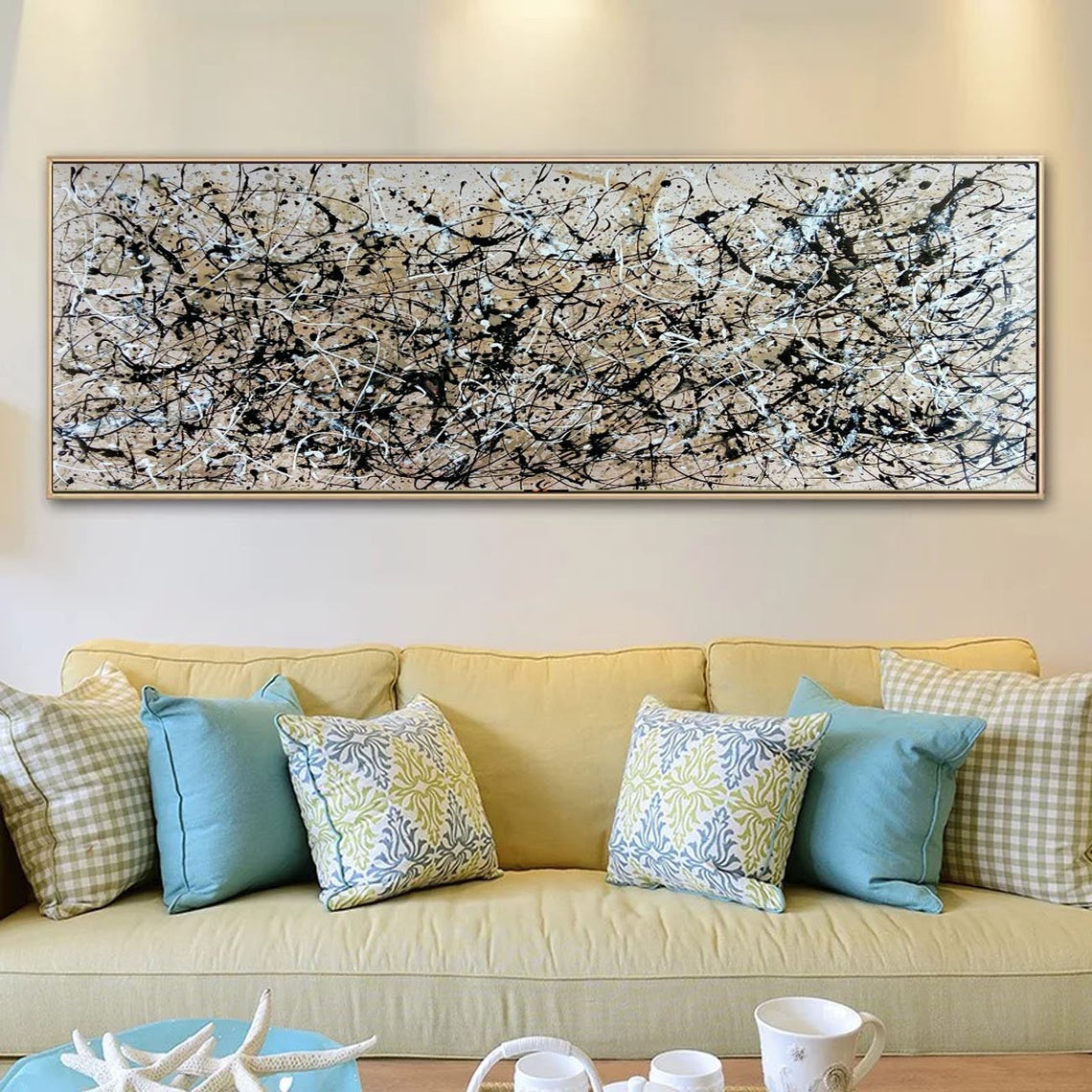 Jackson Pollock Style Art, Large Neutral Wall Art, Contemporary Wall Art