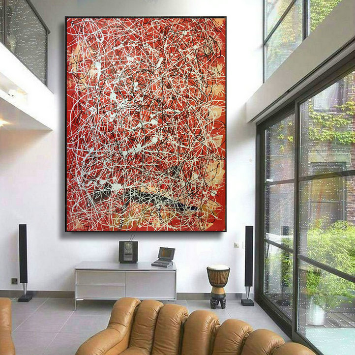 Red white modern art, large oil painting l228