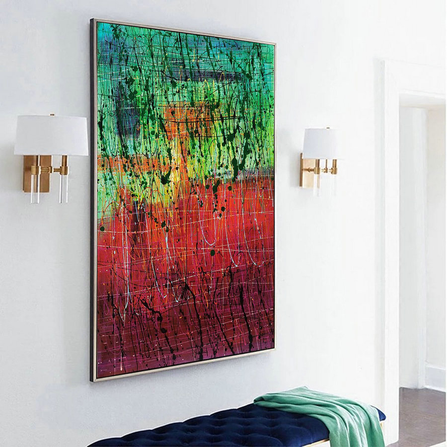 Green dripping paint art, contemporary painting L232