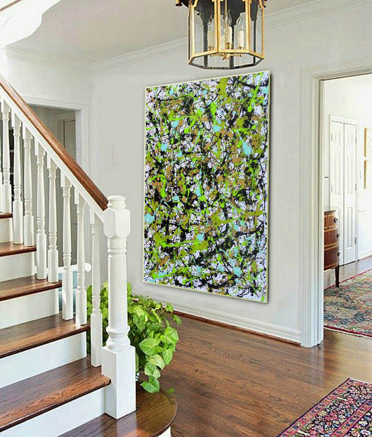 Oversize abstract artwork,Oversize splatter paint art L918