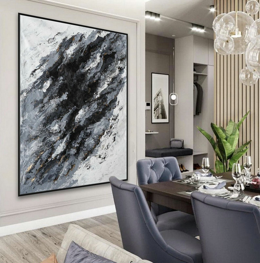 Extra Large Acrylic Fluid Art Abstract Oversize Modern Black White Marble Wall Art Painting 60X80Inch / 150X200Cm,Canvas Frames