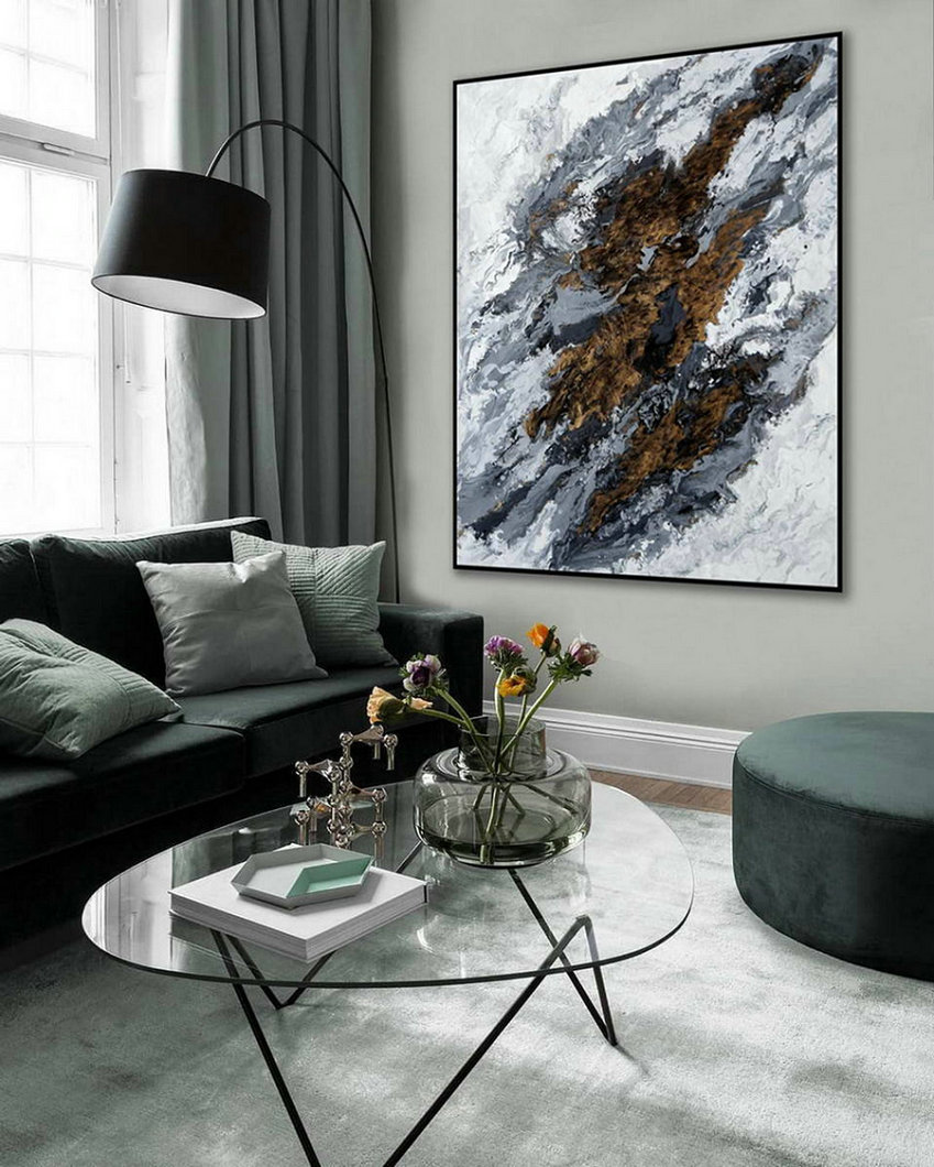 Acrylic Fluid Art Large Modern Abstract Wall Art Hand Painted Painting Gray White Black Dining Living Room Decor Art,Oversized Horizontal Canvas Art