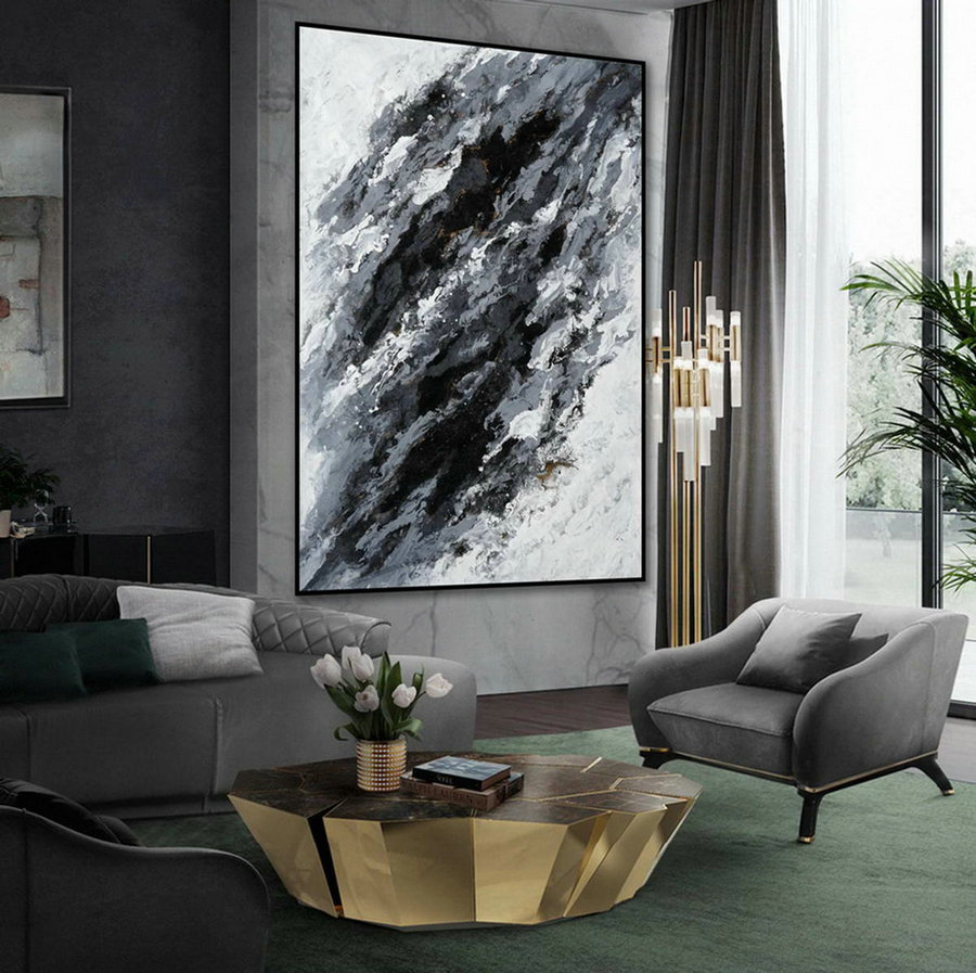 Minimal Modern Wall Art Abstract Black White Minimalist Contemporary Hand Painted Acrylic Canvas Painting Extra Large Vertical 72Inch,Large Scale Canvas Art