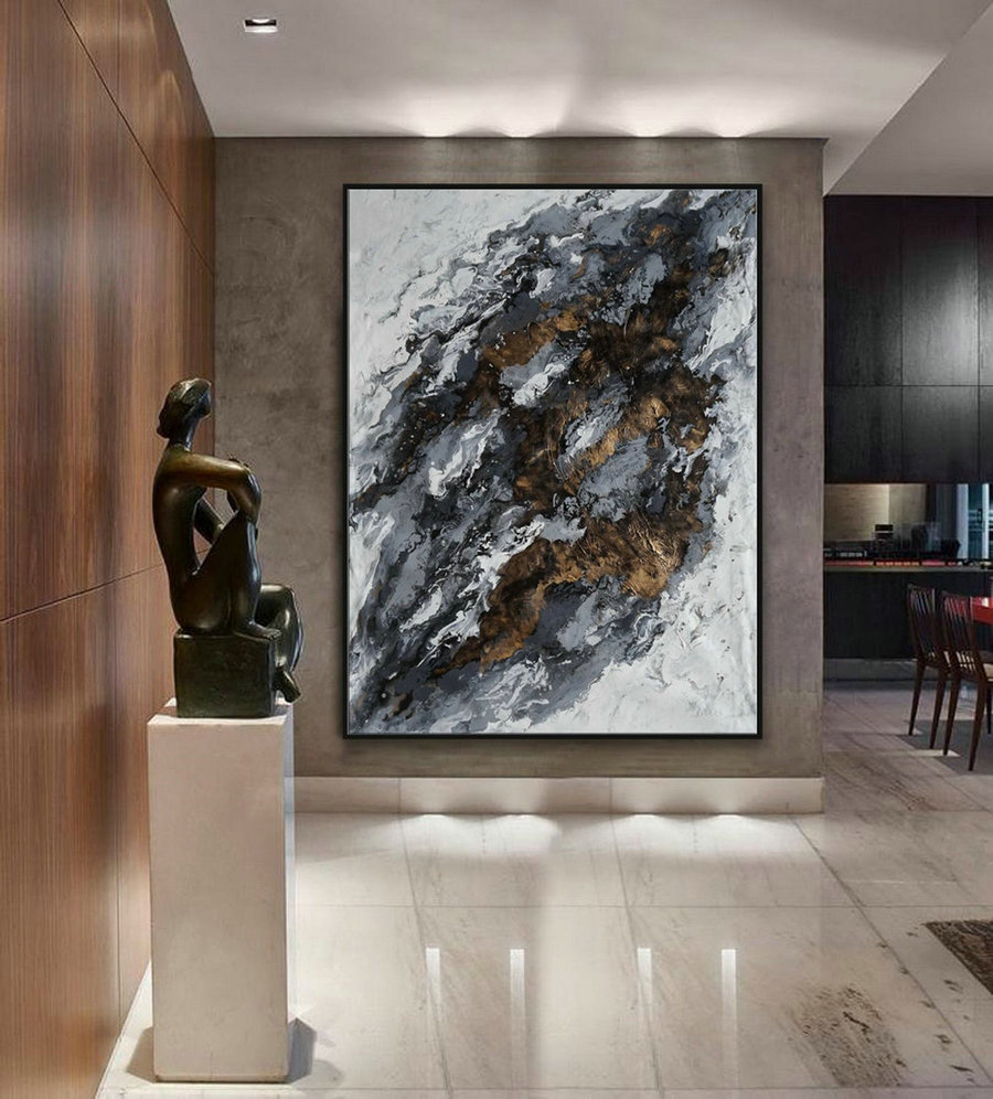 Extra Large Acrylic Fluid Art Abstract Oversize Modern Black Gold White Marble Wall Art Painting 60X80Inch / 150X200Cm,Stretched Canvas