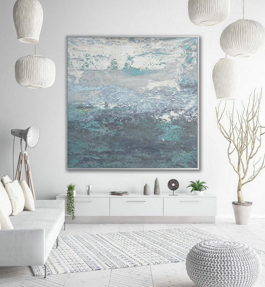 Modern Contemporary Abstract Wall Art Hand Painted Acrylic Palette Knife Oversize Large Square Painting On Canvas 60 X 60Inch / 150X150Cm,Giant Painting Canvas