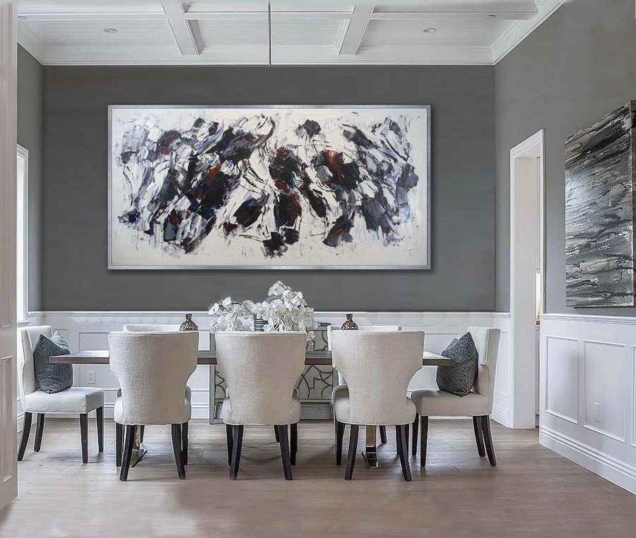Extra Large Panoramic Modern Abstract Wall Art Hand Painted Black And White Contemporary Thick Oil Painting On Canvas 48 X 96Inch,Oversized Paintings For Sale