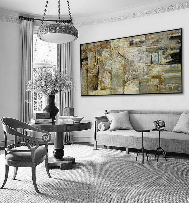 Extra Large Panoramic Modern Abstract Wall Art Hand Painted Black And White Contemporary Thick Oil Painting On Canvas 48 X 96Inch Xxl,Living Room Canvas Art