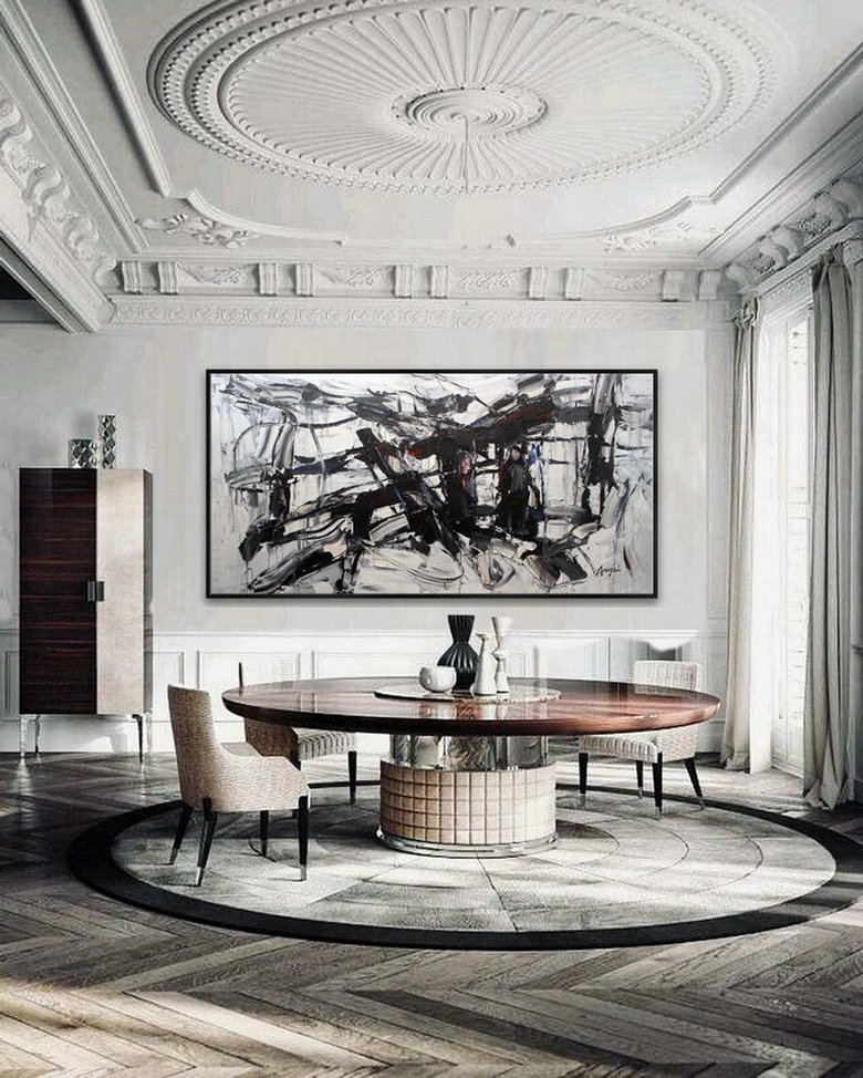 Extra Large Panoramic Modern Abstract Wall Art Hand Painted Black And White Contemporary Thick Oil Painting On Canvas 48 X 96Inch,Oversized Wall Canvas