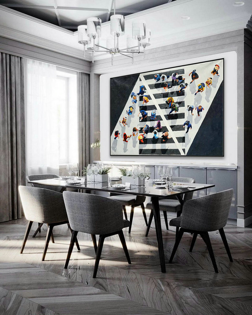 Extra Large Black And White Modern Wall Abstract Artwork Hand Painted Contemporary Art Decor Oil Painting On Canvas 48X72Inch,Very Large Canvas