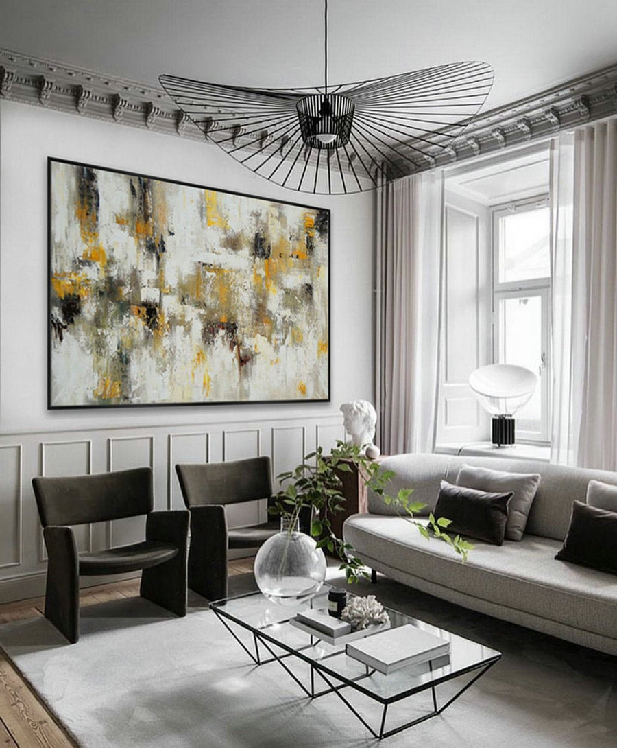 Texture Abstract Oversize Modern Contemporary Canvas Wall Art Hand Painted Extra Large Textured Artwork Horizontal Acrylic Painting,Oil Painting On Canvas