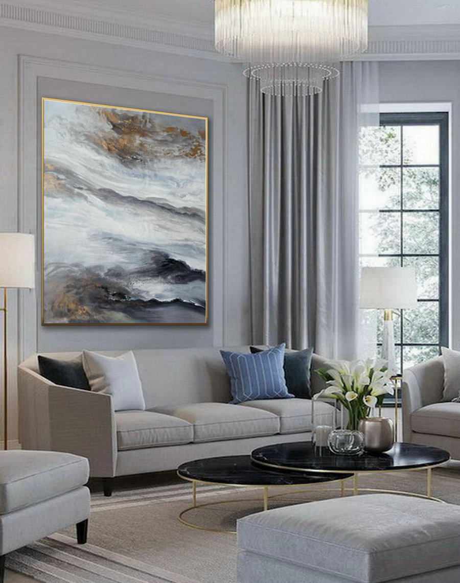 Acrylic Fluid Art Large Modern Abstract Wall Art Hand Painted Painting Gray White Black Dining Living Room Decor Art,Cheap Canvas Artwork