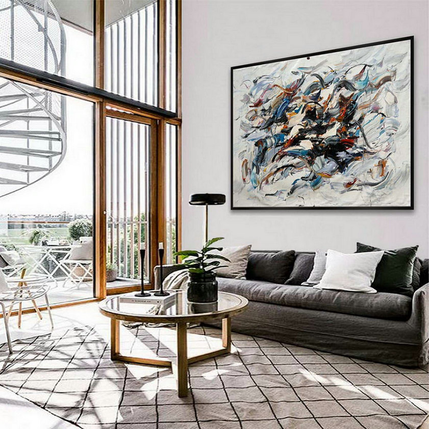 Modern Contemporary Hand Painted Palette Knife Thick Oil Painting On Canvas Extra Large Wall Art Xxl 60X80Inch / 150X200Cm,Big Artwork For Walls