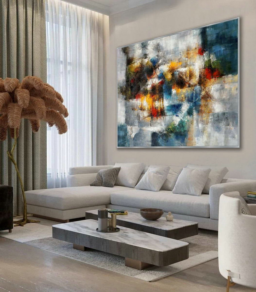 Modern Texture Abstract Contemporary Wall Art Hand Painted Oil Painting On Canvas Extra Large Xxl 60Inch X 80Inch / 150X200Cm,Art Posters