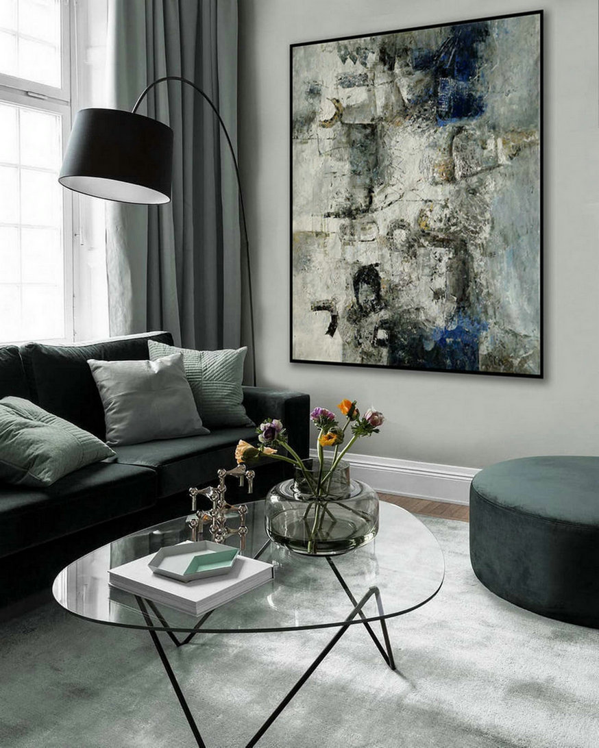 Modern Neutral Abstract Wall Art Texture Minimalist Contemporary Art Work Hand Made Oil Painting On Canvas Large Minimal Artwork,Large Blue Wall Art