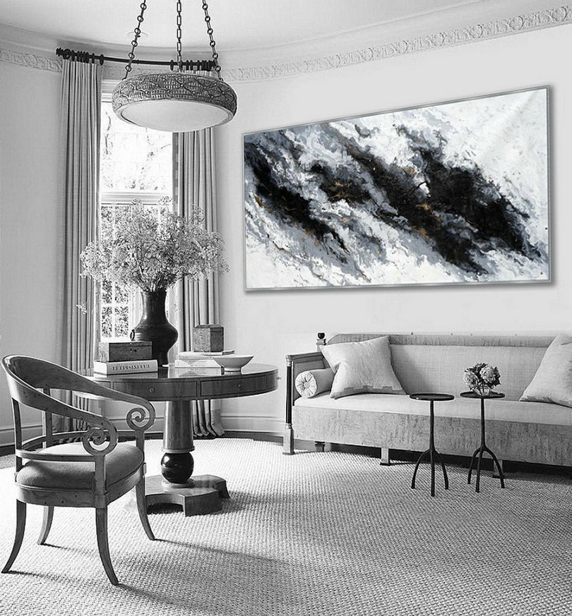 Extra Large Acrylic Modern Marble Fluid Art Abstract Hand Painted Black And White Wall Art Painting,Where To Buy Oversized Wall Art
