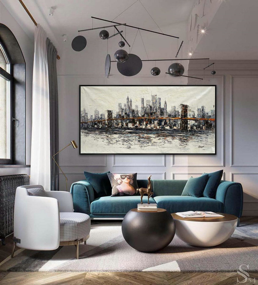 Extra Large Panoramic Modern Abstract Wall Art Hand Painted Gray And White New York Contemporary Oil Painting On Canvas 48 X 96Inch,Massive Canvas