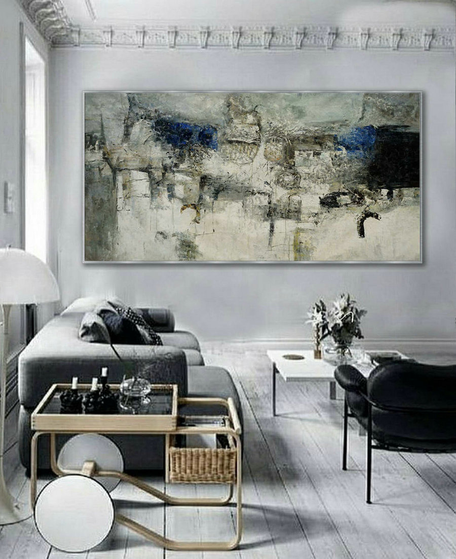 Extra Large Panoramic Modern Abstract Wall Art Hand Painted Black And White Contemporary Thick Oil Painting On Canvas 48 X 96Inch,Big Canvas Art For Sale