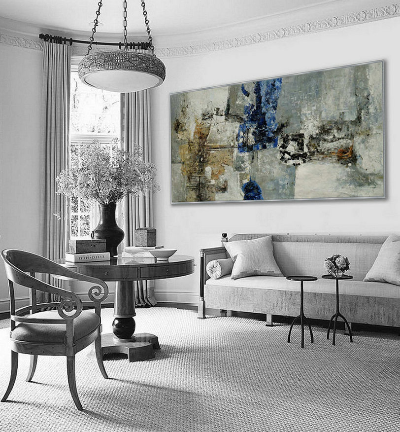 Extra Large Panoramic Modern Abstract Wall Art Hand Painted Black And White Contemporary Thick Oil Painting On Canvas 48 X 96Inch,Extra Large Custom Canvas