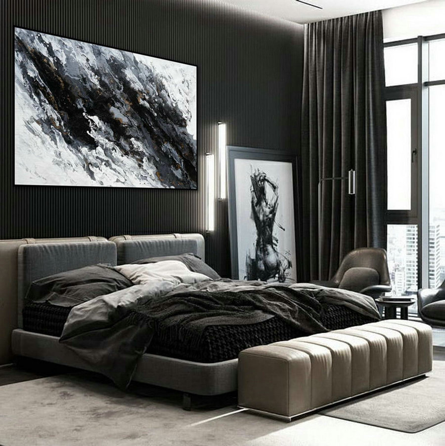 Minimal Modern Wall Art Abstract Black White Minimalist Contemporary Hand Painted Acrylic Canvas Painting Extra Large Horizontal 72Inch,Horizontal Wall Art