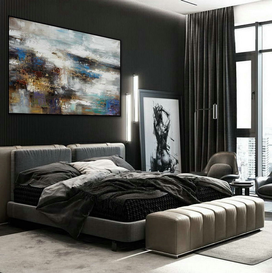 Texture Abstract Oversize Modern Contemporary Canvas Wall Art Hand Painted Extra Large Textured Artwork Horizontal Acrylic Painting,Large Personalised Canvas