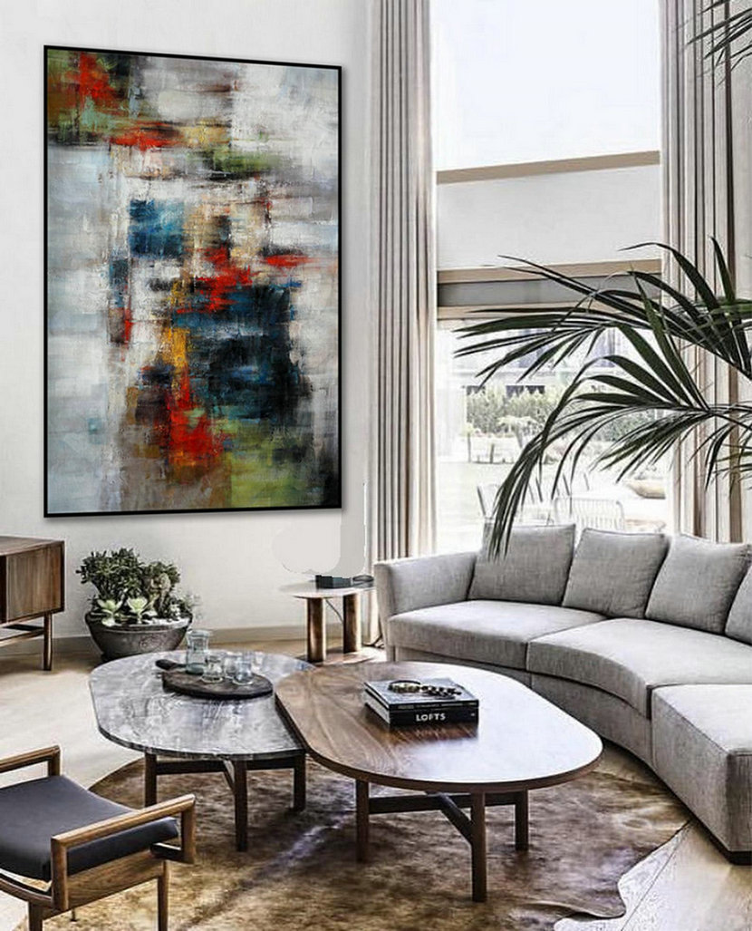 Texture Abstract Oversize Modern Contemporary Canvas Wall Art Hand Painted Extra Large Textured Artwork Vertical Oil Painting 72Inch Xl,Oversized Canvas Wall Art For Great Room