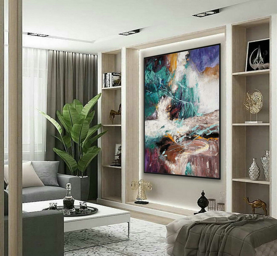 Texture Abstract Oversize Modern Contemporary Canvas Wall Art Handmade Extra Large Textured Vertical Acrylic Artwork Painting 72Inch Xl,Very Large Art