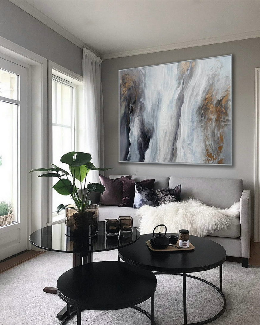 Acrylic Fluid Art Large Modern Abstract Wall Art Hand Painted Black Gray Painting,Wide Canvas Art