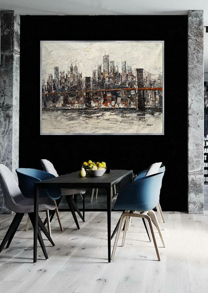 New York Contemporary Hand Painted Palette Knife Thick Oil Painting On Canvas Extra Large Wall Art Xxl 60X80Inch / 150X200Cm,Contemporary Art
