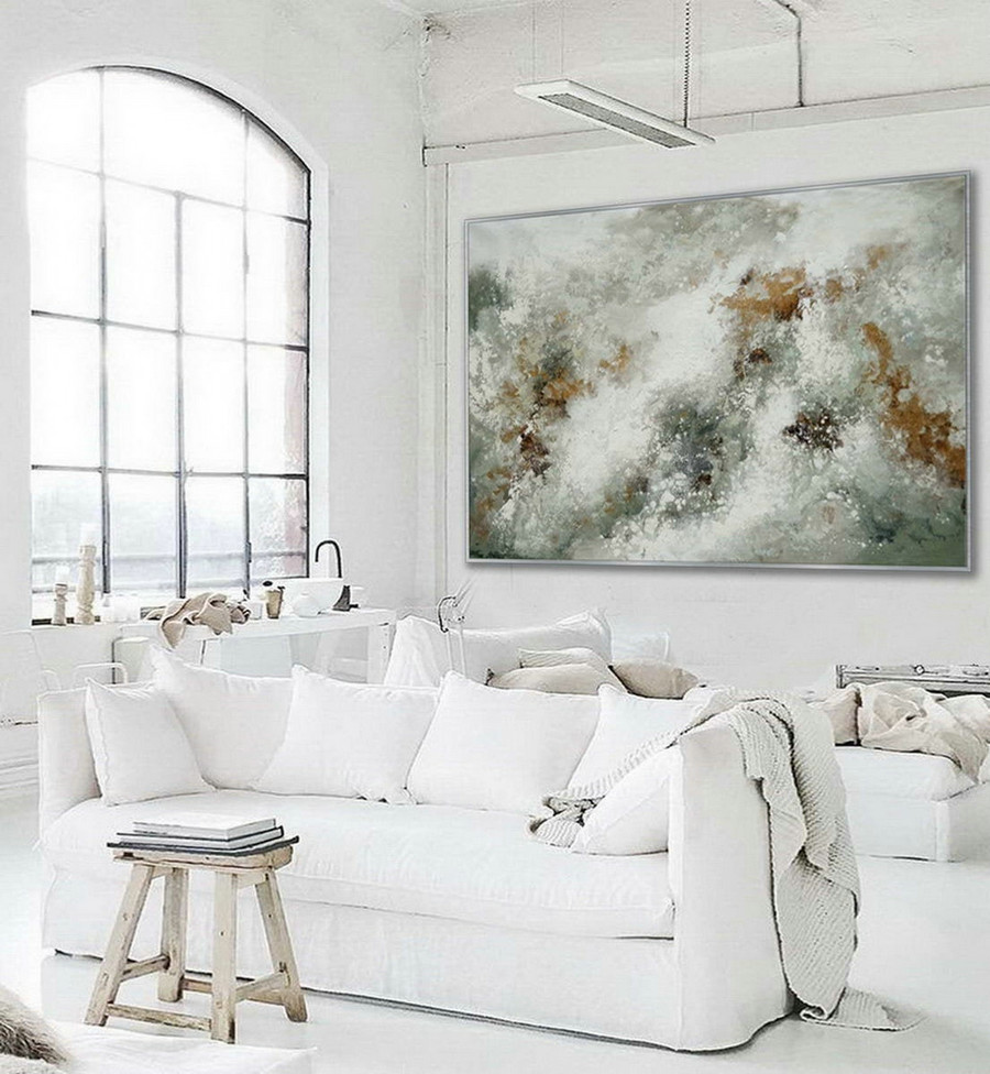 Minimal Modern Neutral Color Abstract Wall Simple Minimalist Contemporary Artwork Extra Large Horizontal Canvas Acrylic Painting,Cheap Large For Walls