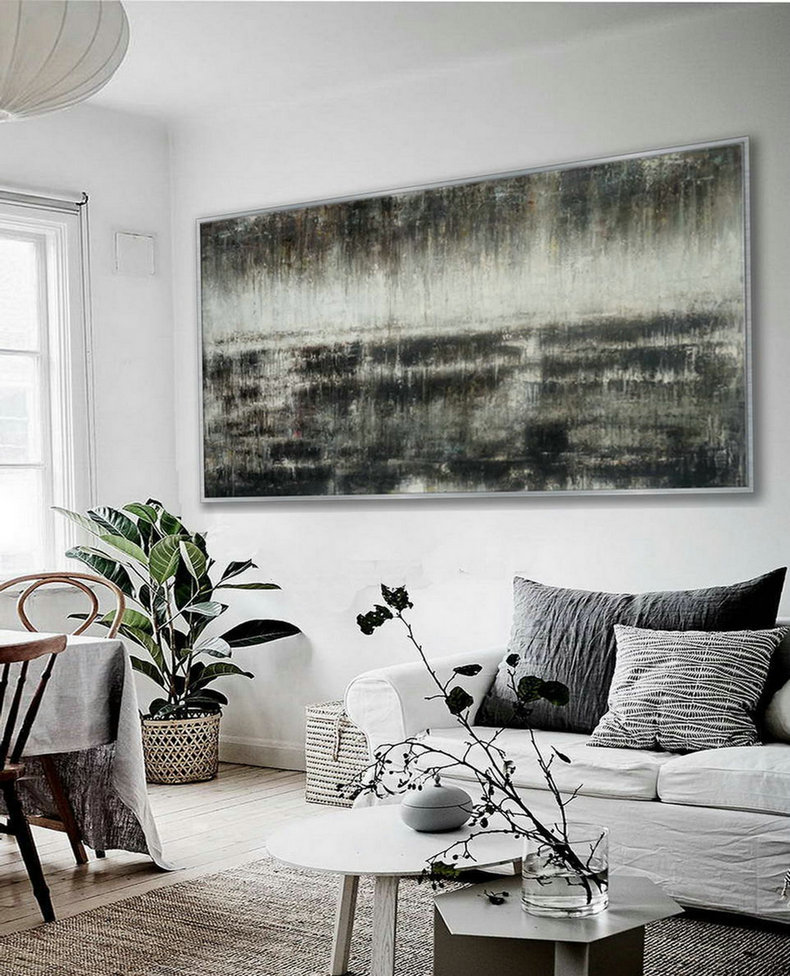 Panoramic Contemporary Minimal Modern Neutral Wall Art Large Horizontal Rustic Minimalist Simple Easy Abstract Oil Painting On Canvas,I Canvas Art