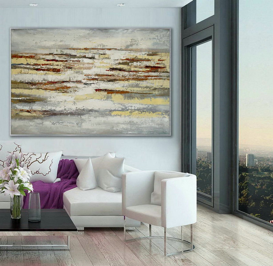 Minimal Modern Neutral Color Abstract Wall Simple Minimalist Contemporary Artwork Extra Large Horizontal Canvas Acrylic Painting,Photo Canvas Sale