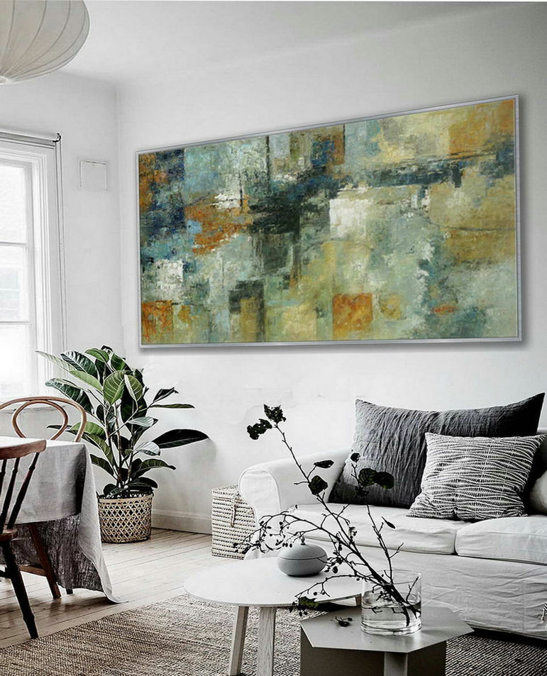 Panoramic Modern Contemporary Wall Art Large Horizontal Thick Texture Palette Knife Abstract Neutral Color Oil Painting On Canvas 72Inch,Extra Large Canvas Artwork