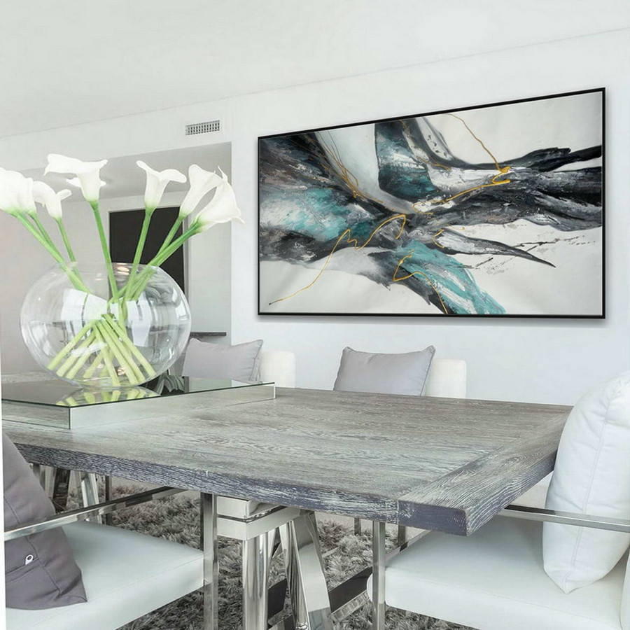 Panoramic Wall Art Modern Contemporary Neutral Color Large Horizontal Texture Abstract Acrylic Painting On Canvas Gray Turquoise Blue,Large Blue Canvas Art