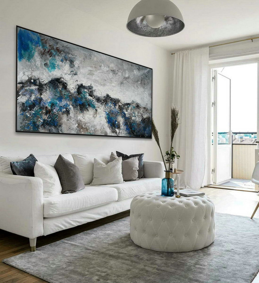 Modern Contemporary Neutral Color Panoramic Wall Art Large Horizontal Heavy Texture Abstract Acrylic Painting Gray Turquoise Blue,Funky Canvas Art