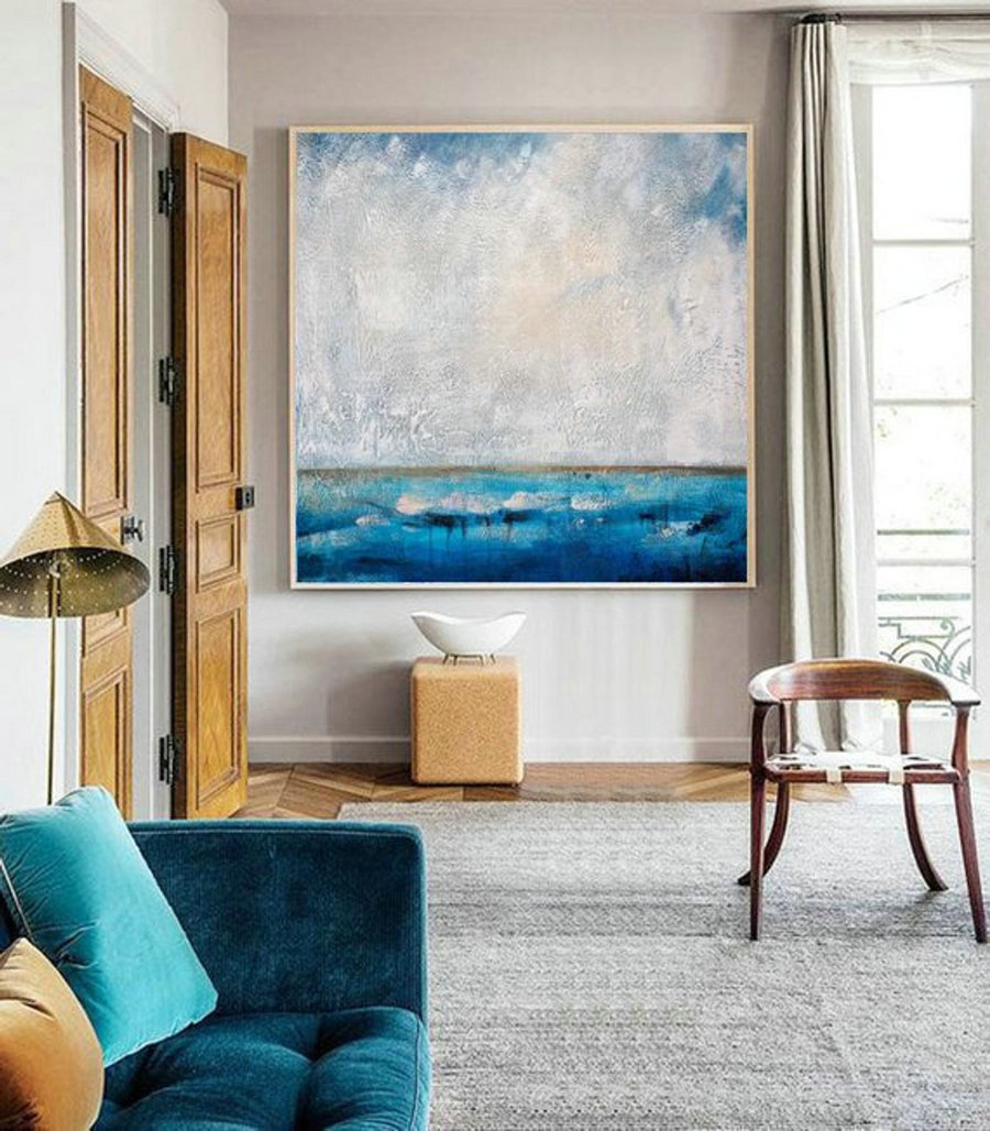 Living Room Art,Large Wall Art Abstract Painting,Ocean Painting,Large Sky And Sea Painting,Sea Blue Level Oil Painting,Ocean Canvas Painting,Canvas For Sale