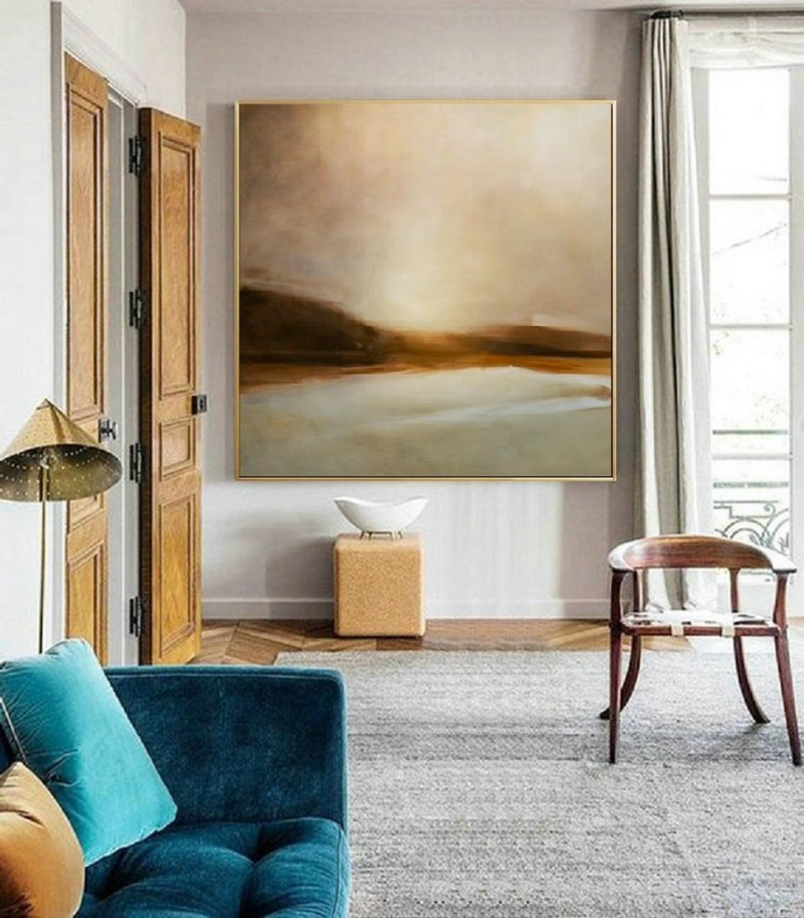 Sky Abstract Oil Painting,Original Sky And Sea Oil Painting,Sunrise Oil Painting,Large Canvas Oil Painting,Large Wall Art Gold Oil Painting,Framed Wall Art