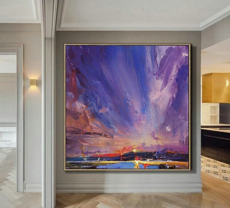Original Painting Night View Of Coastline,Large Wall Sky Painting,Cloud Abstract Painting,Sky Abstract Painting,Night Sky Canvas Painting,Personalized Canvas Art