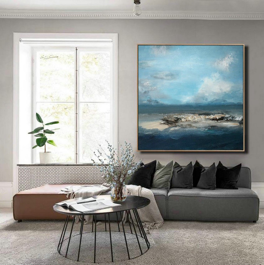 Large Sky & Sea Canvas Painting,Original Light Blue Sky Painting,Large Wall Sky Painting,Sky Abstract Painting,Ocean Landscape Painting,Cheap Artwork