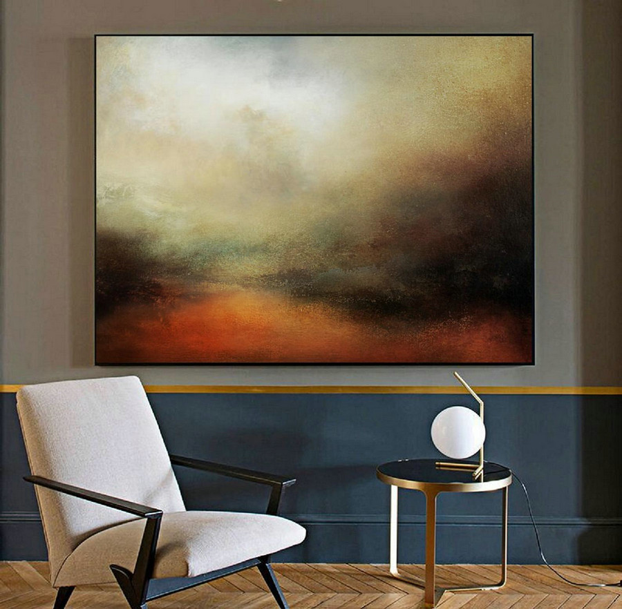 Large Sky Landscape Painting,Large Wall Sky Abstract Painting,Convergent Sea Landscape Painting,Minimalist Abstract Painting Of The Sky,Large Wall Art For Sale