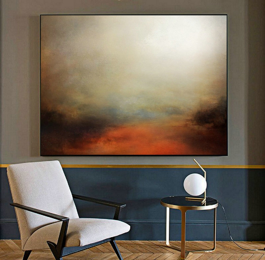 Minimalist Abstract Painting Of The Sky, Large Wall Sky Abstract Painting,Large Sky Landscape Oil Painting,Convergent Sea Landscape Painting,Original Art For Sale