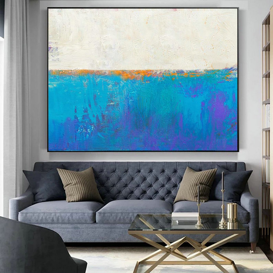 Original Blue Seascape Skyline Painting,Large Abstract Art,,Large Abstract Painting On Canvas,Abstract Art,Large Wall Canvas Oil Painting,Oversized Photo