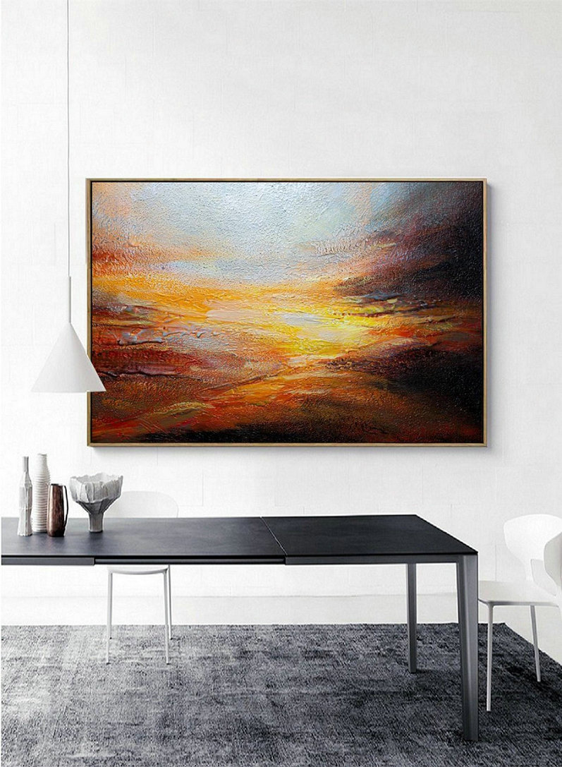 Sky Abstract Painting,Original Natural Landscape Painting,Large Wall Art Ocean Acrylic Painting,Heavy Rain Art,Scenic Extreme Weather Decor,Canvas Pictures