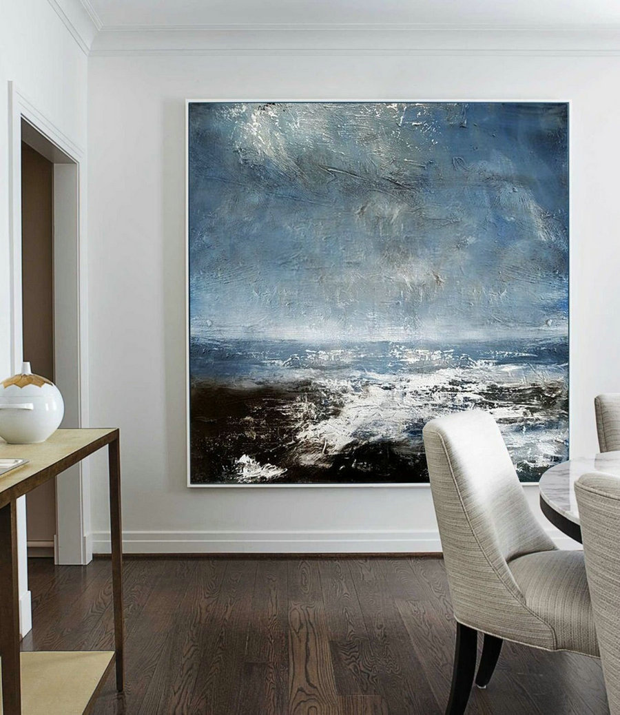 Original Sea Abstract Art Painting,Abstract Painting On Canvas,Large Ocean Canvas Painting,Seascape Abstract Oil Painting,Large Abstract Art,Paintings For Sale
