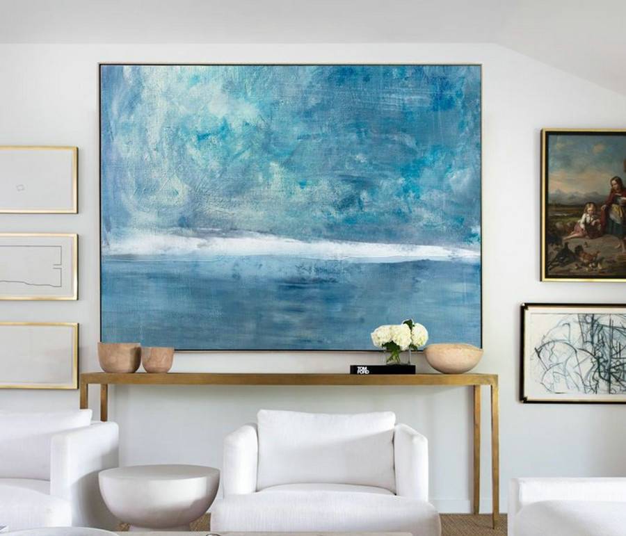 Original Sky Sea Canvas Painting,Large Sky And Sea Painting,Sea Blue Level Oil Painting,Large Wall Sea Painting,Marine Landscape Painting,Contemporary Canvas Art