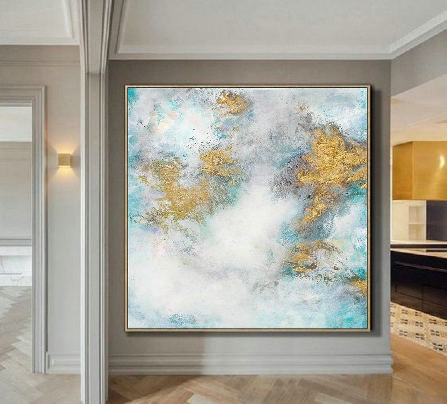 Cloud Abstract Painting,Large White Gold Abstract Art Oil Painting On Canvas,Gold Painting,Original Abstract Canvas Wall Art Office Decor,Oversized Wall Art