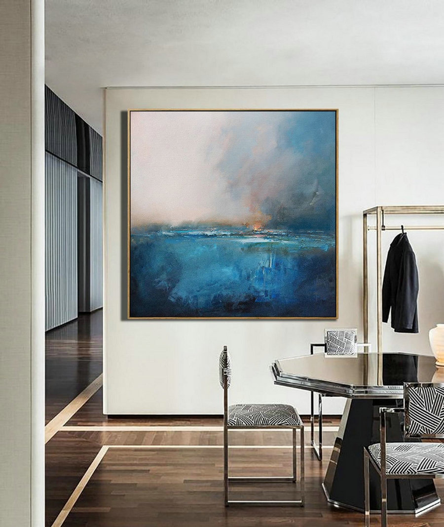 Large Original Sea Level Blue Oil Painting,Large Wall Art Blue Abstract Painting,Sky Landscape Oil Painting,Large Ocean Canvas Oil Painting,Extra Large Wall Art