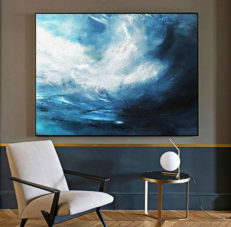 Original Blue Abstract Sky Oil Painting,Abstract Art Painting,Large Wall Canvas Oil Painting,Large Abstract Art,Abstract Painting On Canvas,Oversized Abstract Art